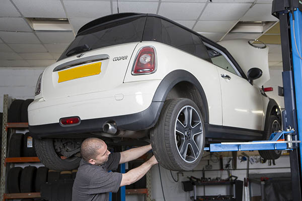 Mini being serviced